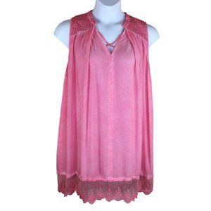 Umgee Mineral Washed Pink Swing Dress Size Large